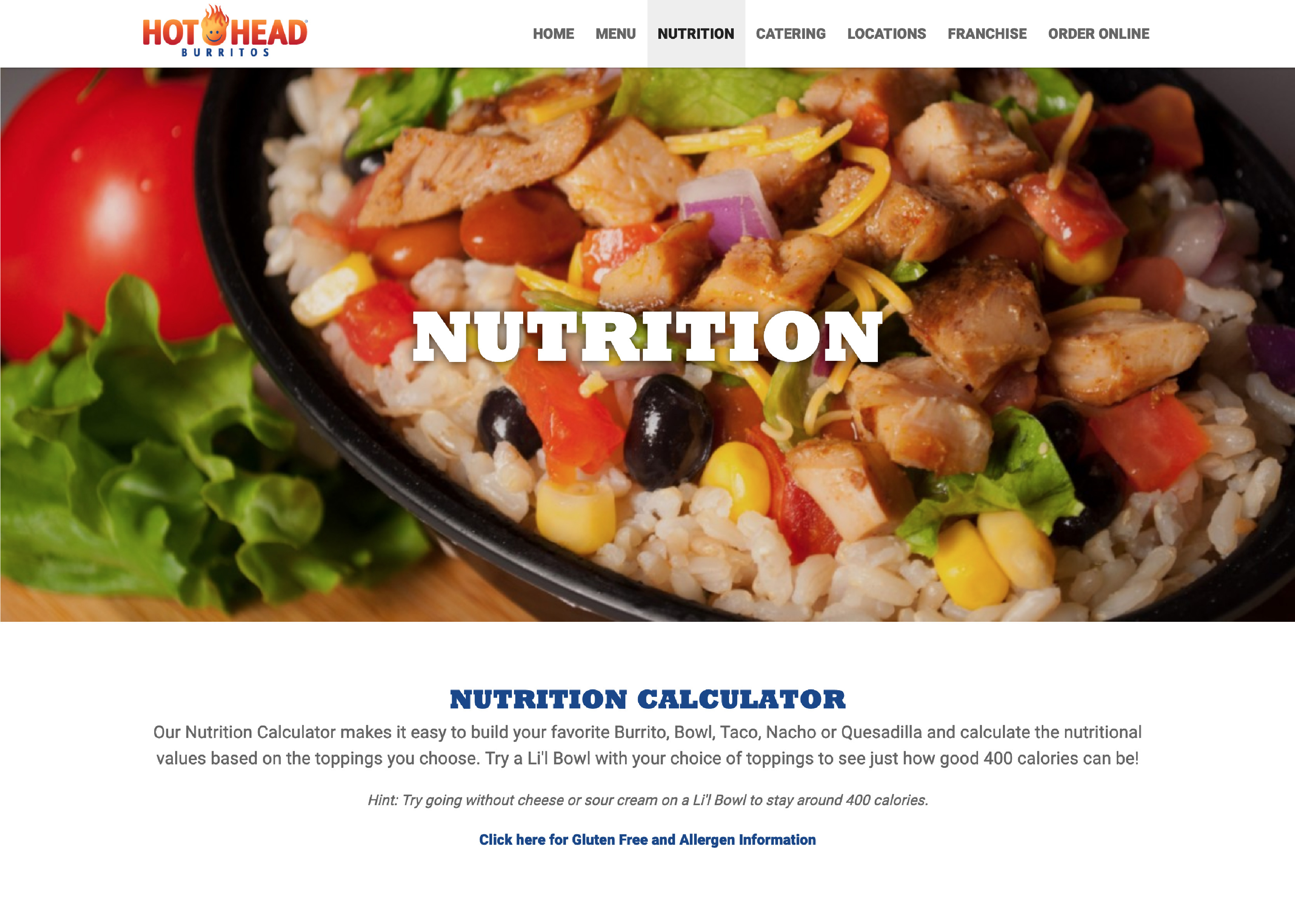 new nutrition page